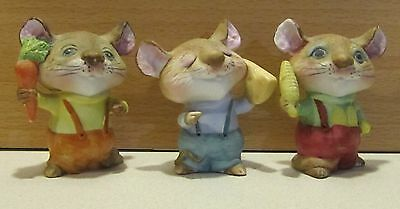Set of 3 HOMCO Mice Mouse Figurines #5601. Corn Carrot Cheese. Made in Taiwan.