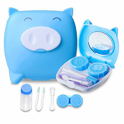 Cute Pig Cartoon Contact Lens Case Travel Kit Easy Mirror Storage Container Box