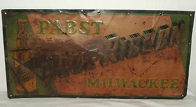 Rare Vintage Pabst Brewing Milwaukee Metal Embossed Beer Sign
