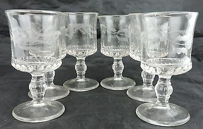 Vintage Pressed Glass Goblet Set 6 Vodka Liquor Stemware Leaf Garland Etched