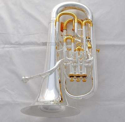 Professional Compensating System Euphonium Silver Gold Trigger Key + Wheel Case