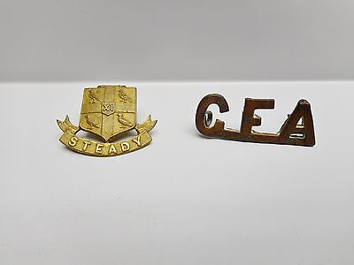 """Vintage -  2  Cap Badges - """"CANADIAN FIELD ARTILLERY"""" and  """"STEADY"""""""