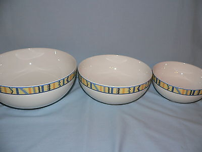 "3 Villeroy & Boch Bali Look  Round Vegetable Serving Mixing Bowl Set 10"" 8"" 7"""
