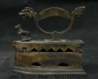 "5"" Chinese Folk Bronze Horse Dragon Handle Statue Flatiron sadiron Electric Iron"