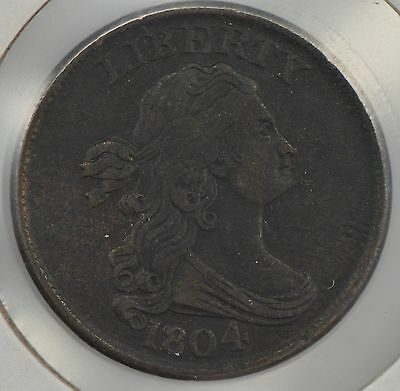 """1804 Draped Bust Half Cent, """"Spiked Chin"""" ***Rare *Z11"""