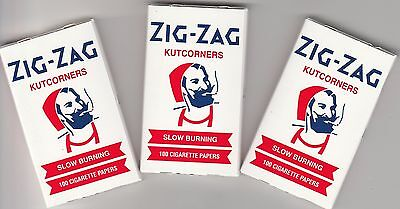 3 packs of 100, Zig Zag Rolling Papers, White Cut Corners