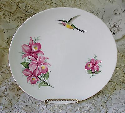 Wood & Sons Pink Orchid Hummingbird Cake Serving Display Plate Made In England