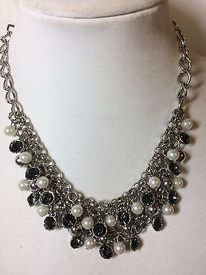 NEW YORK & COMPANY CHAIN MAIL SILVER pearl jeweled BEADED NECKLACE $25 NWT NYC