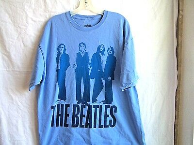 """Blue """"Beatles"""" band t-shirt, late 1960s picture of the Fab Four, sz. XL"""