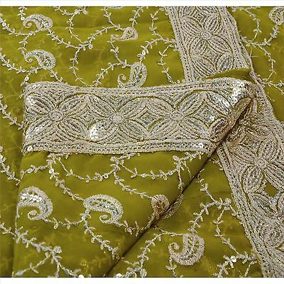 Sanskriti Vintage Indian Saree Georgette Embroidered Fabric Ethnic Sari Sequins