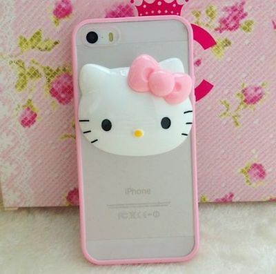 iPhone 5/6S/7/8/8+PLUS - Hard Rubber Gummy 3D Pink Hello Kitty Skin Case Cover