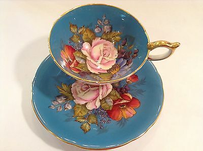 Huge Cabbage Rose Sign By J.a. Bailey Tea Cup And Saucer Aynsley