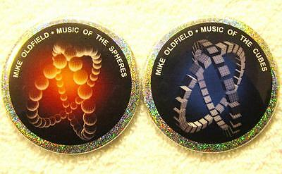 Mike Oldfield PIN SET - Music Of The Spheres and Cubes HOLOGRAM BUTTONS non-cd