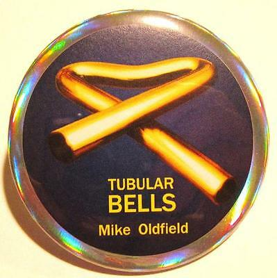Tubular Bells PIN 2 -Rare Blue n Gold HOLOGRAM PRISM BUTTON Mike Oldfield non-cd