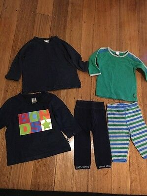 Baby Bonds Size 000-00 3 Long Sleeve Tops And 2 Leggings.