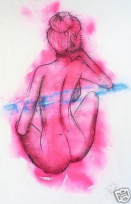 nude abstract body girl woman pink street art print authentic COA by Andy Baker