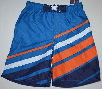 New BOYS Cherokee Blue/Orange Surf Swim Beach Lined Shorts size M (8/10) UPF 50+