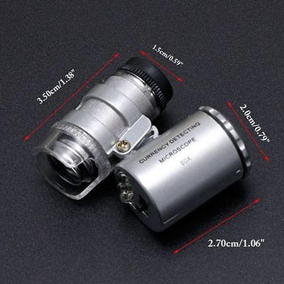 Microscope 60x Coins With LED Light Magnifying Magnifier Loupe Jewelry Loop