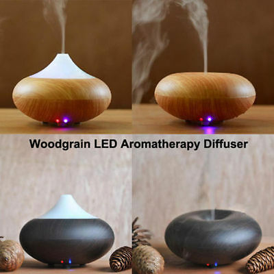 Woodgrain Ultrasonic Ion Humidifier Aroma Air Aromatherapy Diffuser US Plug BS
