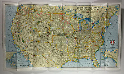 Vintage Great Northern Railway Map of the United States, 1957