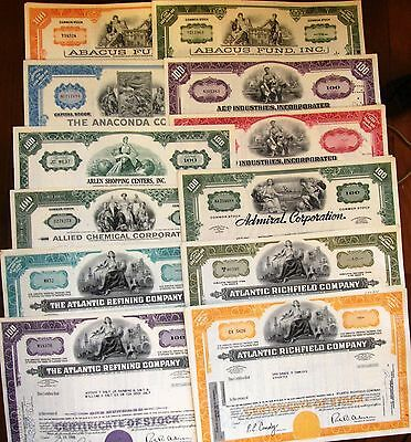 100 all different colors. US stock certificate & bond.