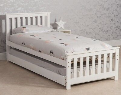 Wooden 3ft Single Daybed with Trundle 2 in 1 Extra Sleepover Bed bedroom