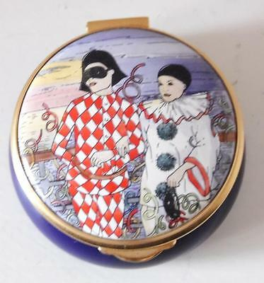 Staffordshire Enamels Box Pierrot Clowns Design 1989  Boxed
