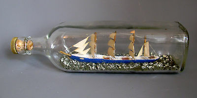 Vintage Ship in bottle Hand made nautical sailing ship