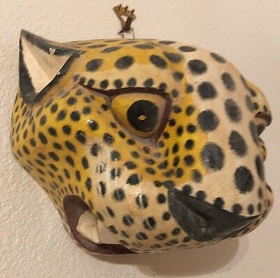 VTG Hand Carved Painted Wood LG Mask Sculpture Cheetah Leopard Head Wall Hanging
