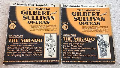THE IMMORTAL GILBERT and SULLIVAN OPERAS Parts 1 & 2 VINTAGE 1930's Sheet Music