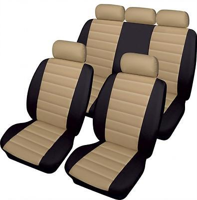 Kia Sportage  - Luxury BEIGE/BLACK Leather Look Car Seat Covers - Full Set