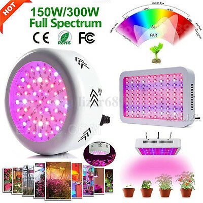 300W/150W LED Grow Light Panel Full Spectrum Lamp Indoor Hydroponic Plant Flower