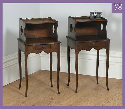 Antique Pair 2 Two French Louis XV Style Chestnut Bedsides Cabinets Nightstands