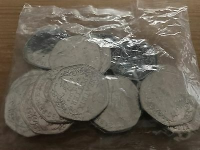 Beatrix Potter Sealed bag of 20 Uncirculated 50p coins.
