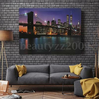LED Light Up Canvas Painting Pictures Night View Home Wall Hanging Decor 30x40cm