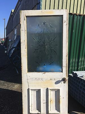 Large Edwardian Victorian  Etched Cut Glass Front Door Antique Period