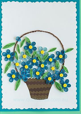 Handmade Paper Quilled Greeting Cards (flowers basket)