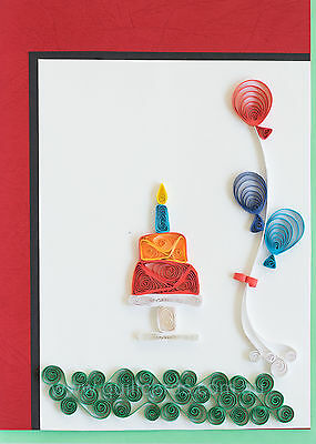 Handcrafted Paper Quilling Greeting Cards for Birthdays (Cake and Balloons)