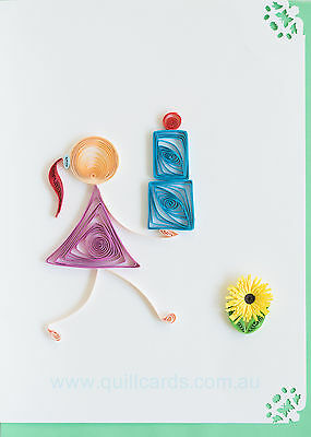 Handcrafted Paper Quilling Greeting Cards for Birthdays (Girl with Cake 002)