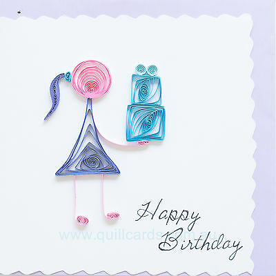 Handcrafted Paper Quilling Greeting Cards for Birthdays (Girl with cake)