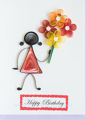 Handcrafted Paper Quilling Greeting Cards for Birthdays (Girl & Flowers 003)