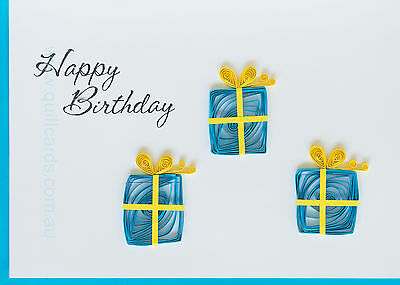 Handcrafted Paper Quilling Greeting Cards for Birthdays ((Three Gift Boxes)