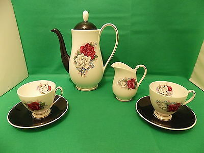 Vintage China Queen Anne Black / Red Roses Part of Coffee Set