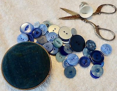 Vintage Sewing Pin Tin Cushion Buttons Thimble Scissors