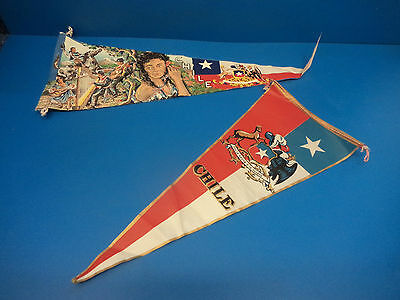 2 Vintage Chile Pennants / Flags