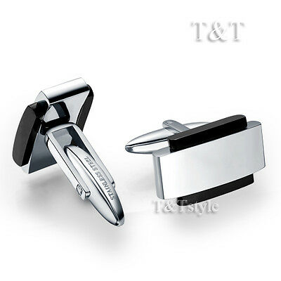 Trendy Quality TTstyle 316L Stainless Steel Silver/Black Edged Cufflinks