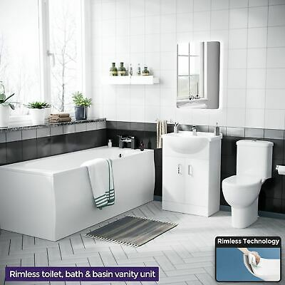 Travers Bathroom Suite 1700 Bath Vanity Unit & Close Coupled Toilet Cistern Seat