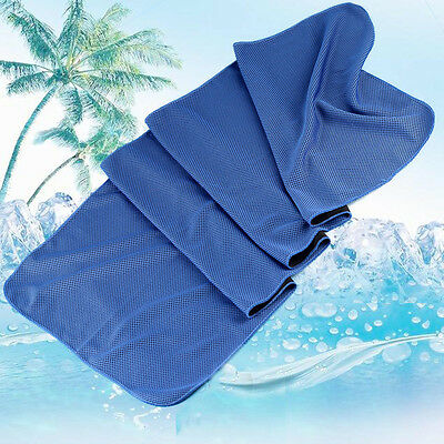 Blue Instant Cooling Towel Sports Gym Yoga Towel Drying Sweat Baby Absorb Dry UK