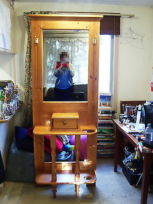 Wooden hall stand with mirror