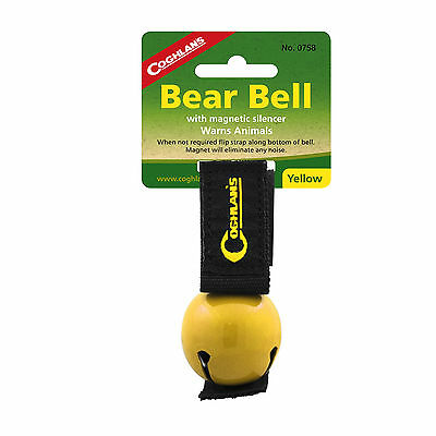 Coghlan's Bear Bell Yellow w/Magnetic Silencer & Loop Strap Warns Animals Hike